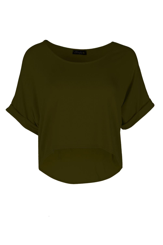 Mujer-Holgado-Corto-Largo-Camiseta-Asimetrico-Elastico-Con-vuelta-manga-TOP
