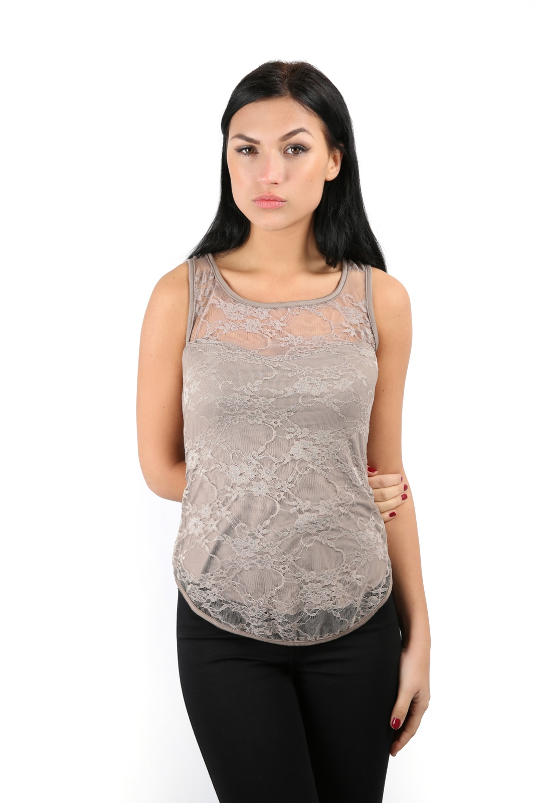 Ladies Sleeveless Stretch Bodycon Floral Lace Top Womens