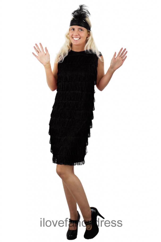 frange noire robe charleston et headband femmes ann es 1920 ann es 1930 ebay. Black Bedroom Furniture Sets. Home Design Ideas