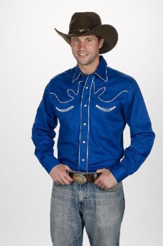 NEU  Herren Retro Baumwolle Western Show Shirt Shirt Shirt Größe XL Royal f377ed
