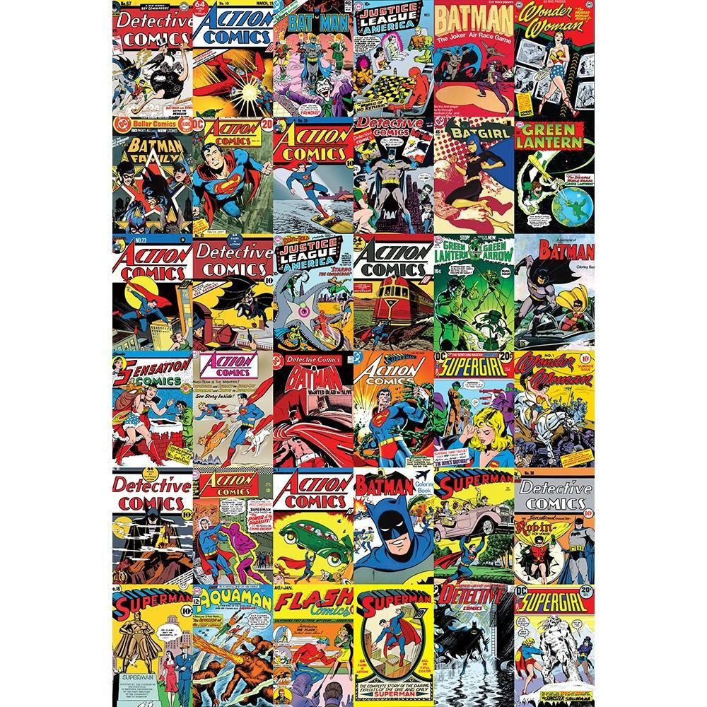 New 1 wall mural marvel dc comics batman superman iron man for Batman mural wallpaper