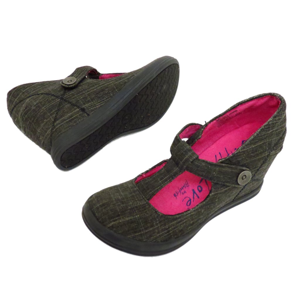 Mujer-Blowfish-Lona-negra-Cunas-T-Tobillo-Tiras-Zapatos-numero-3-9
