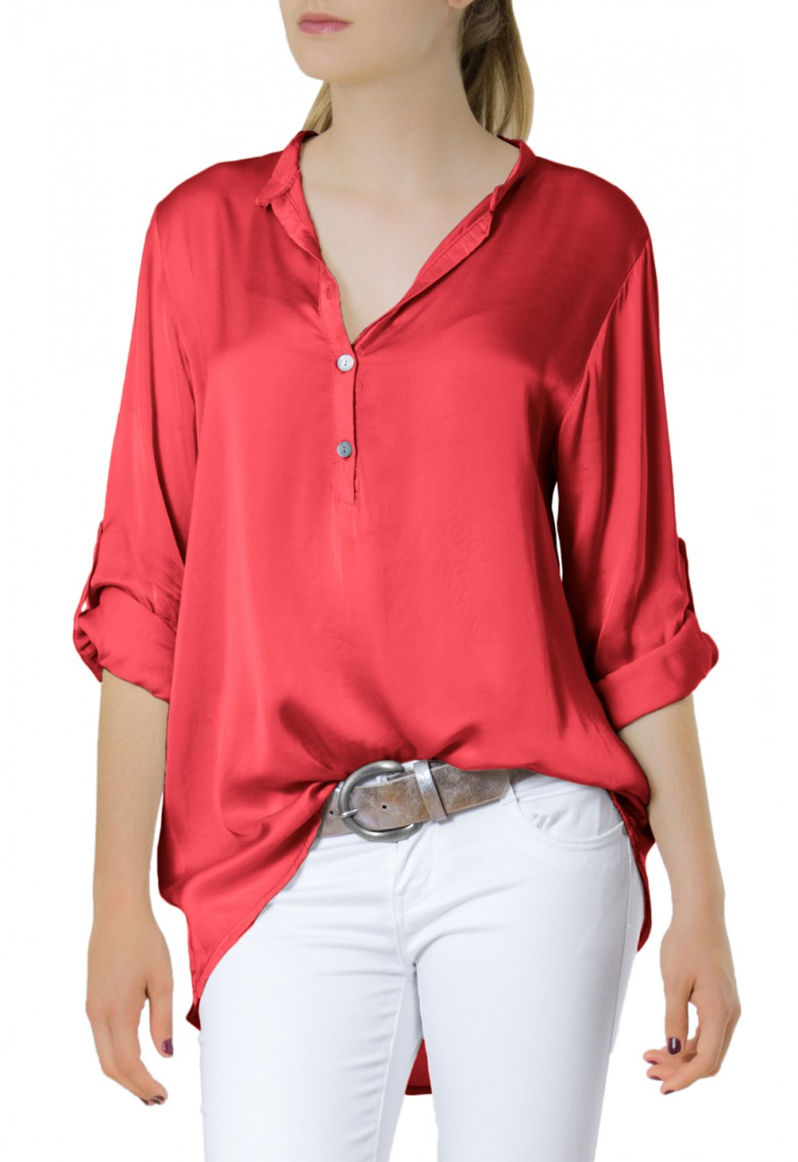 Original Details About La Redoute Womens LongSleeved Stretch Satin Blouse