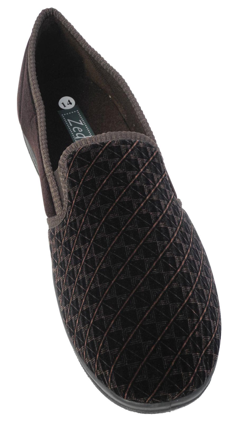 mens zedzzz luxury warm comfort velour shoes slippers big. Black Bedroom Furniture Sets. Home Design Ideas