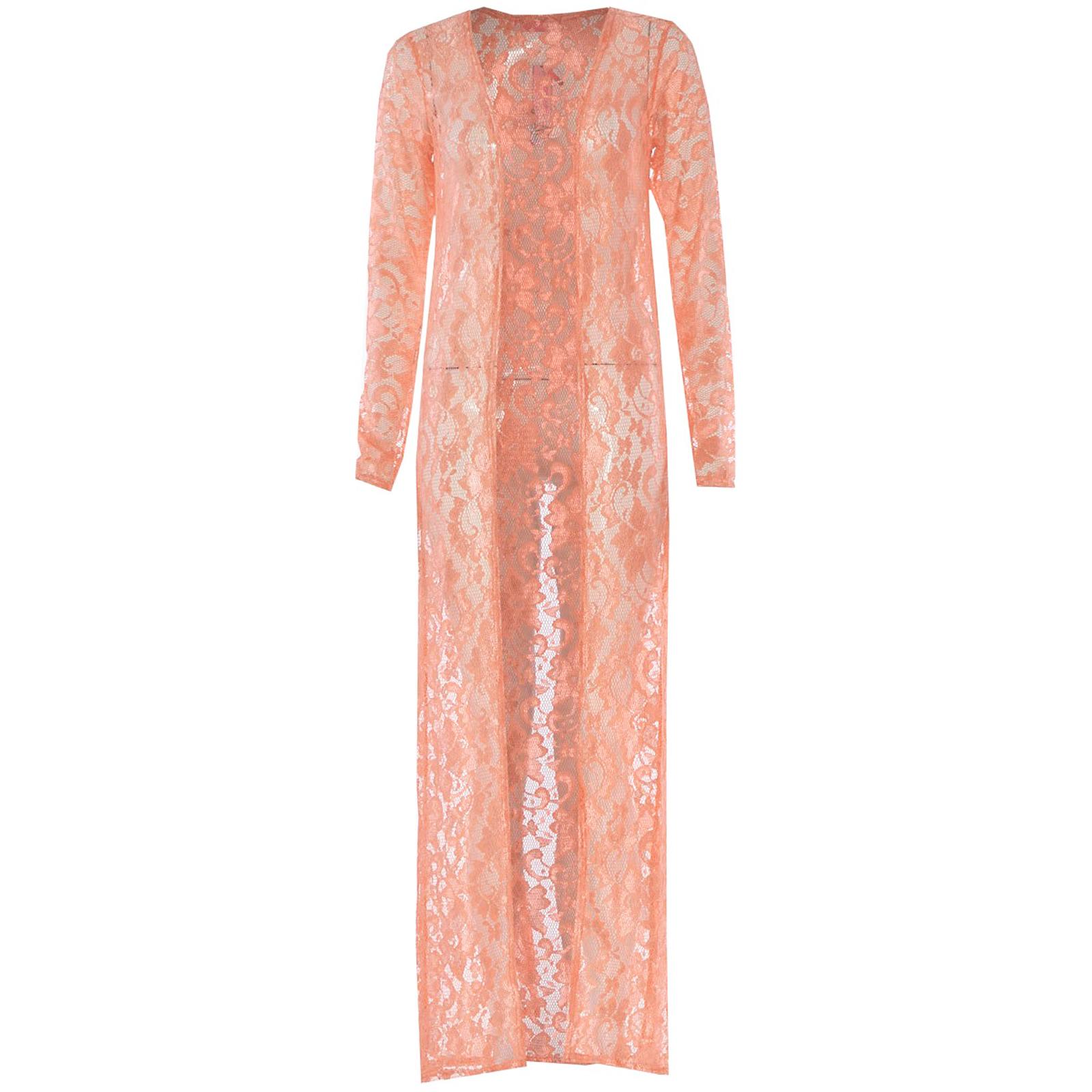 New Women Long Lace Open Cardigan Celeb Kimono Cardi Full Maxi Shrug Top  Ebay-6684
