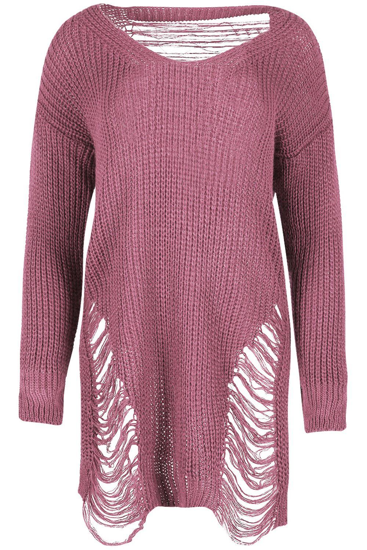 Femmes tricot grosse maille avant arri re d lav rip tunique longue robe pull ebay - Tricot grosse maille ...