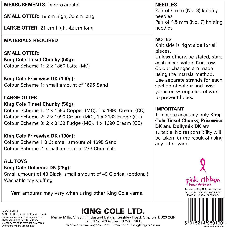 9035 King COLE OROPEL GRUESO Tejer patrón de árbol de Navidad//Bolas