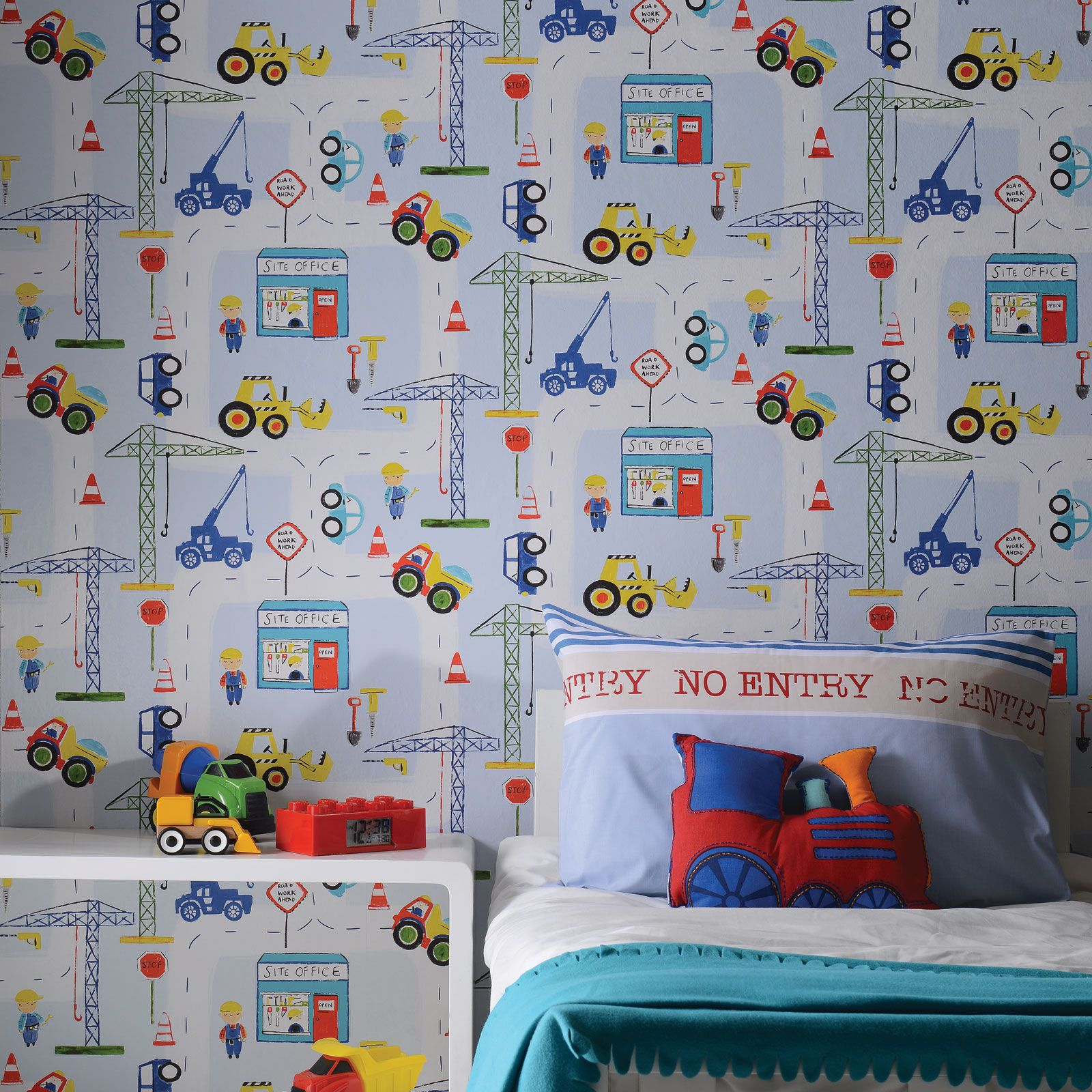 Boys Bedroom With Feature Wallpaper: TRANSPORT AND VEHICLES THEMED WALLPAPER & BORDERS BEDROOM