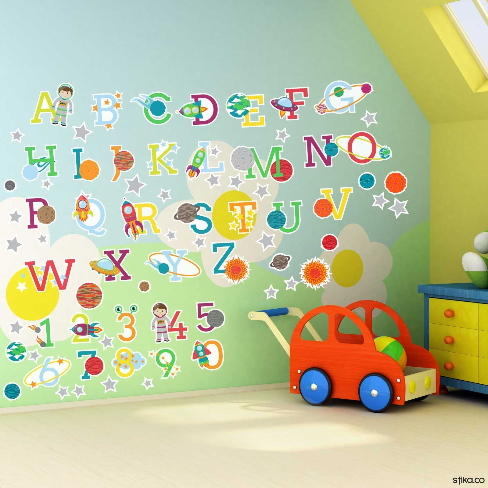 Space planets alphabet letters and numbers self adhesive for Alphabet wall decoration