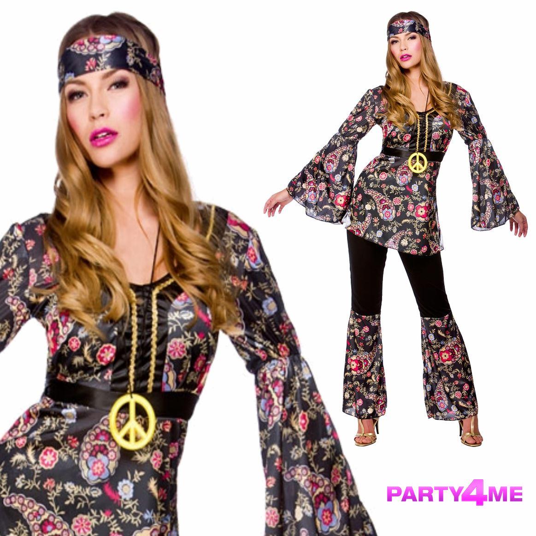 erwachsene 60s 70s groovy lady hippie flower power damen kost m ebay. Black Bedroom Furniture Sets. Home Design Ideas