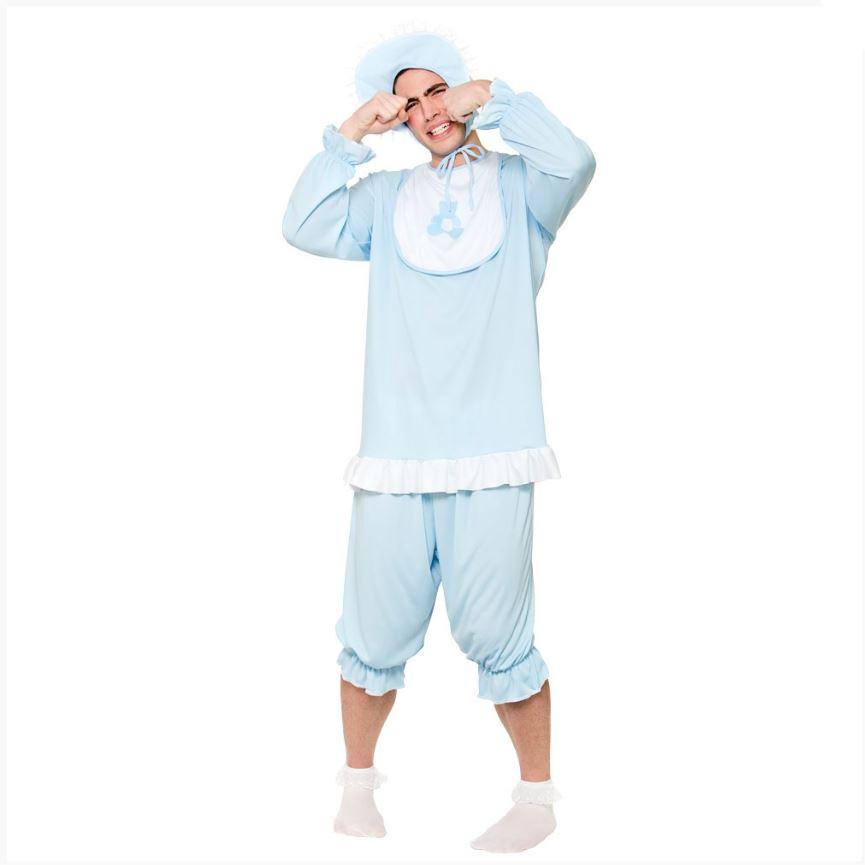 Adulto-Hombre-Big-Cry-Bebe-Traje-Azul-Traje-Mono-Disfraz