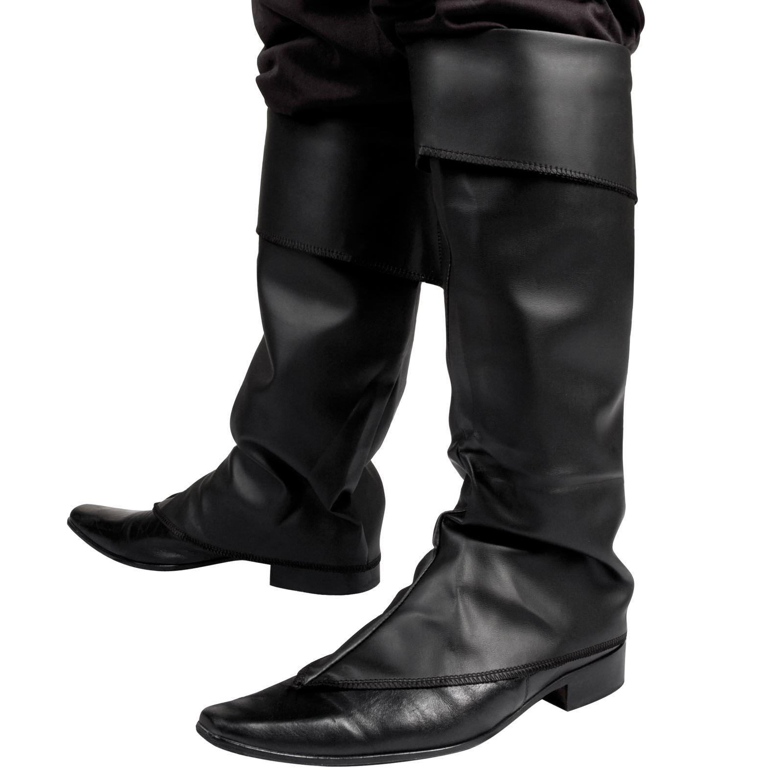 herren damen schwarze stiefel top abdeckungen mittelalterlich peter pan piraten ebay. Black Bedroom Furniture Sets. Home Design Ideas