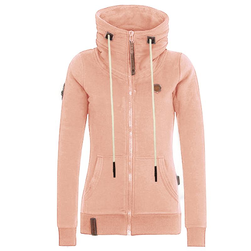Taglie-Forti-Moda-Donna-Felpa-con-cappuccio-manica-lunga-cappotto-maglione
