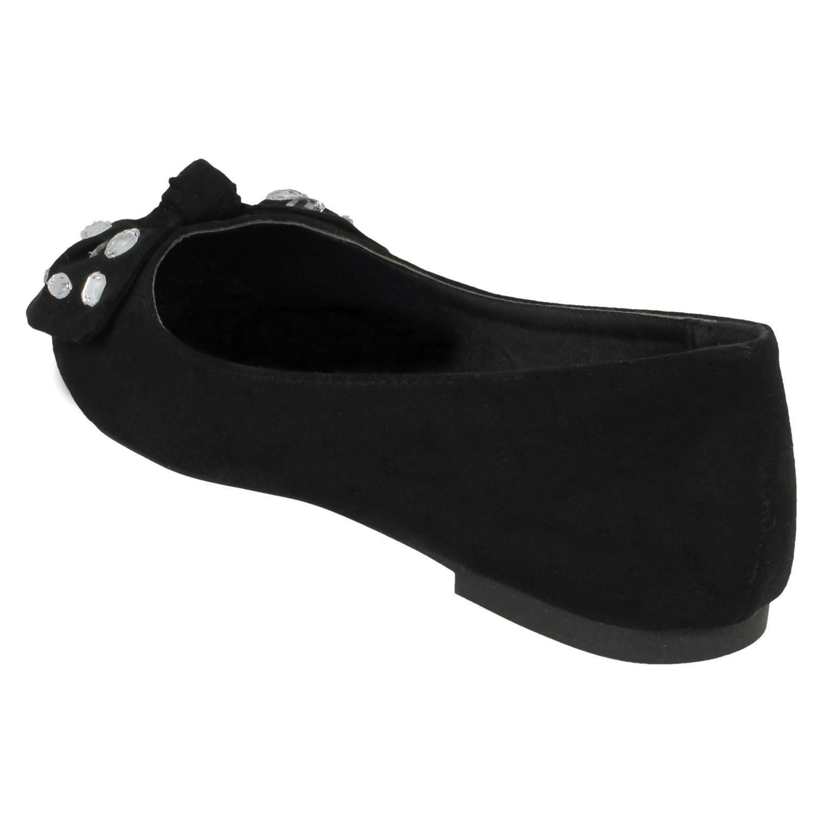 Spot On Ladies Jewel Bow Ballerina Shoes