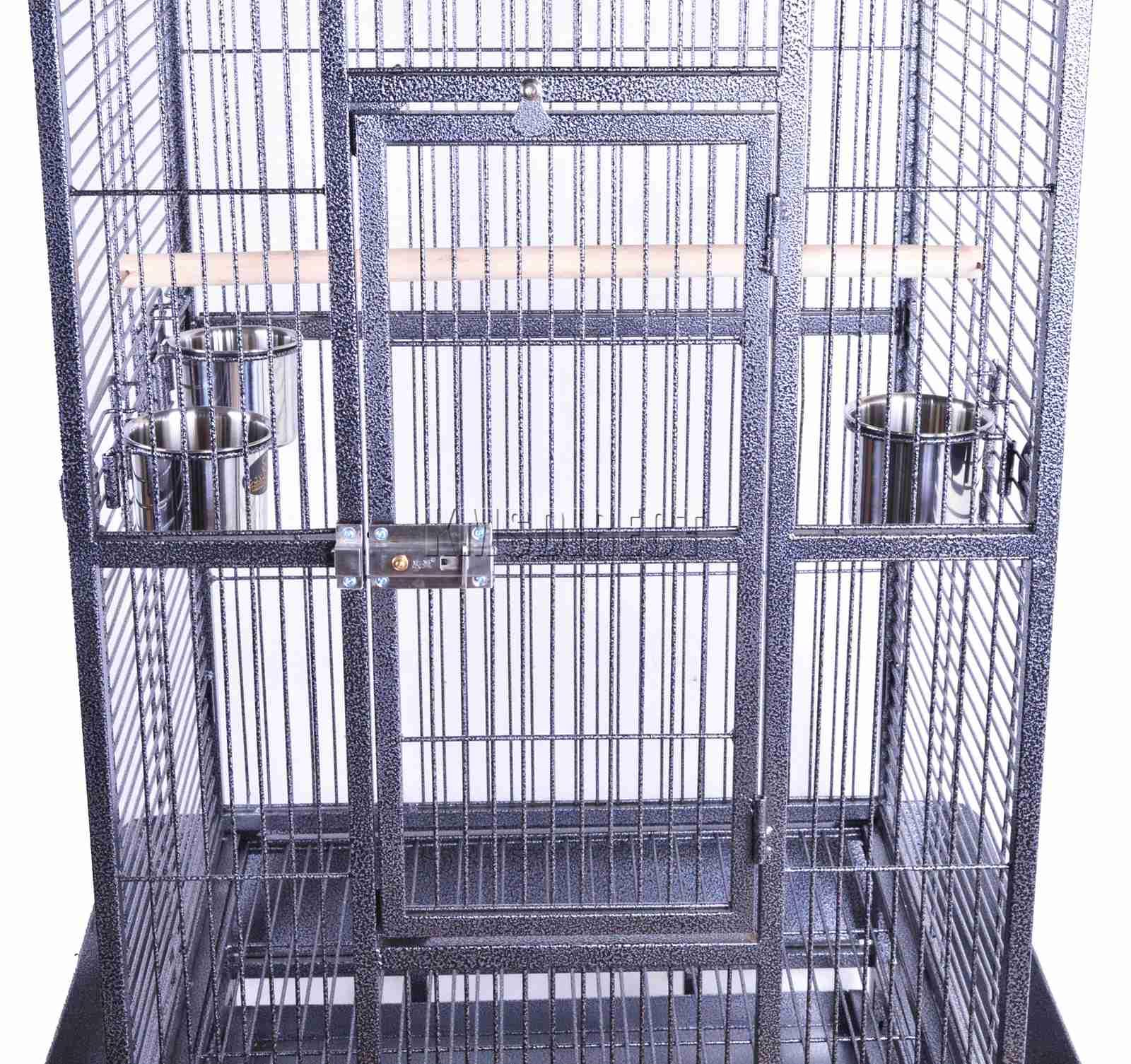 121998112507 2475 I 225 26 BIRD CAGE METAL MBC 01 HAMMERED SILVER KMSWM0505 - Foxhunter Grande Metal Jaula con Soporte Pajarera Loro Periquito Canario Cacatua