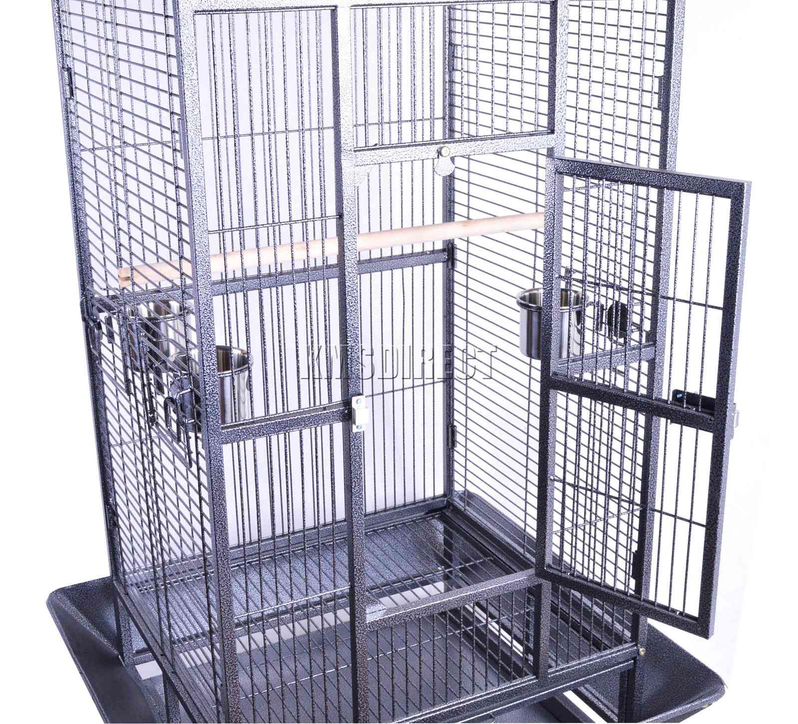 121998112507 2475 I 225 26 BIRD CAGE METAL MBC 01 HAMMERED SILVER KMSWM0606 - Foxhunter Grande Metal Jaula con Soporte Pajarera Loro Periquito Canario Cacatua