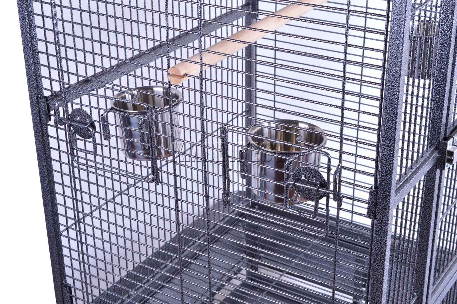 121998112507 2475 I 225 26 BIRD CAGE METAL MBC 01 HAMMERED SILVER KMSWM0707 - Foxhunter Grande Metal Jaula con Soporte Pajarera Loro Periquito Canario Cacatua