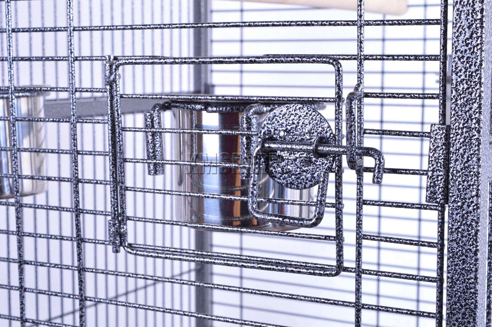 121998112507 2475 I 225 26 BIRD CAGE METAL MBC 01 HAMMERED SILVER KMSWM0808 - Foxhunter Grande Metal Jaula con Soporte Pajarera Loro Periquito Canario Cacatua