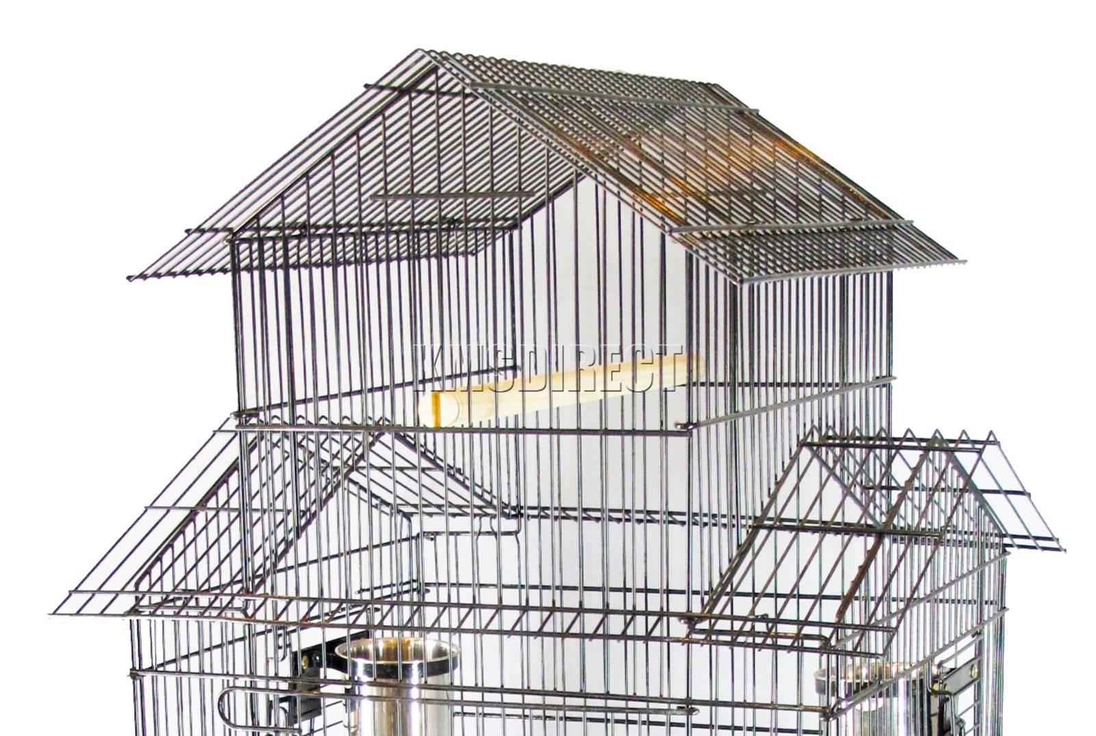 121998112507 2475 I 225 30 BIRD CAGE METAL MBC 02 HAMMERED SILVER KMSWM0302 - Foxhunter Grande Metal Jaula con Soporte Pajarera Loro Periquito Canario Cacatua