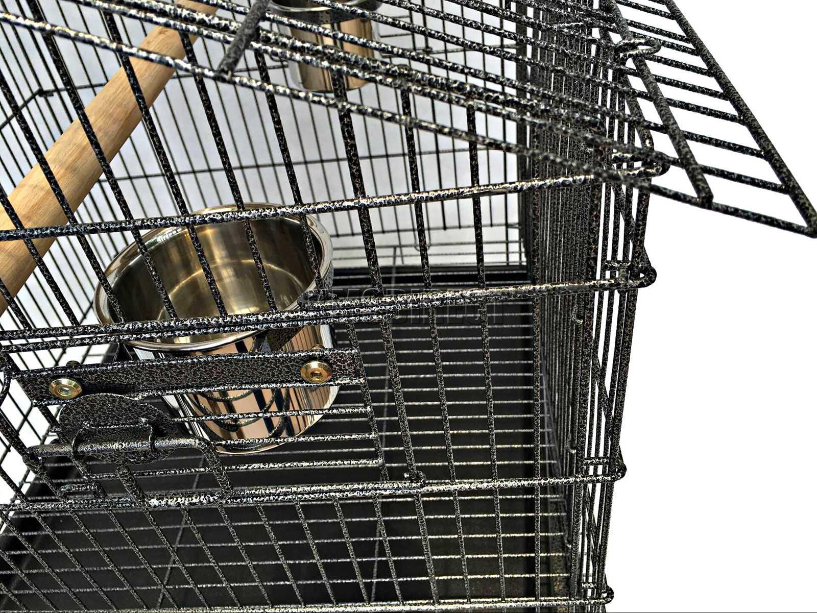 121998112507 2475 I 225 30 BIRD CAGE METAL MBC 02 HAMMERED SILVER KMSWM0605 - Foxhunter Grande Metal Jaula con Soporte Pajarera Loro Periquito Canario Cacatua