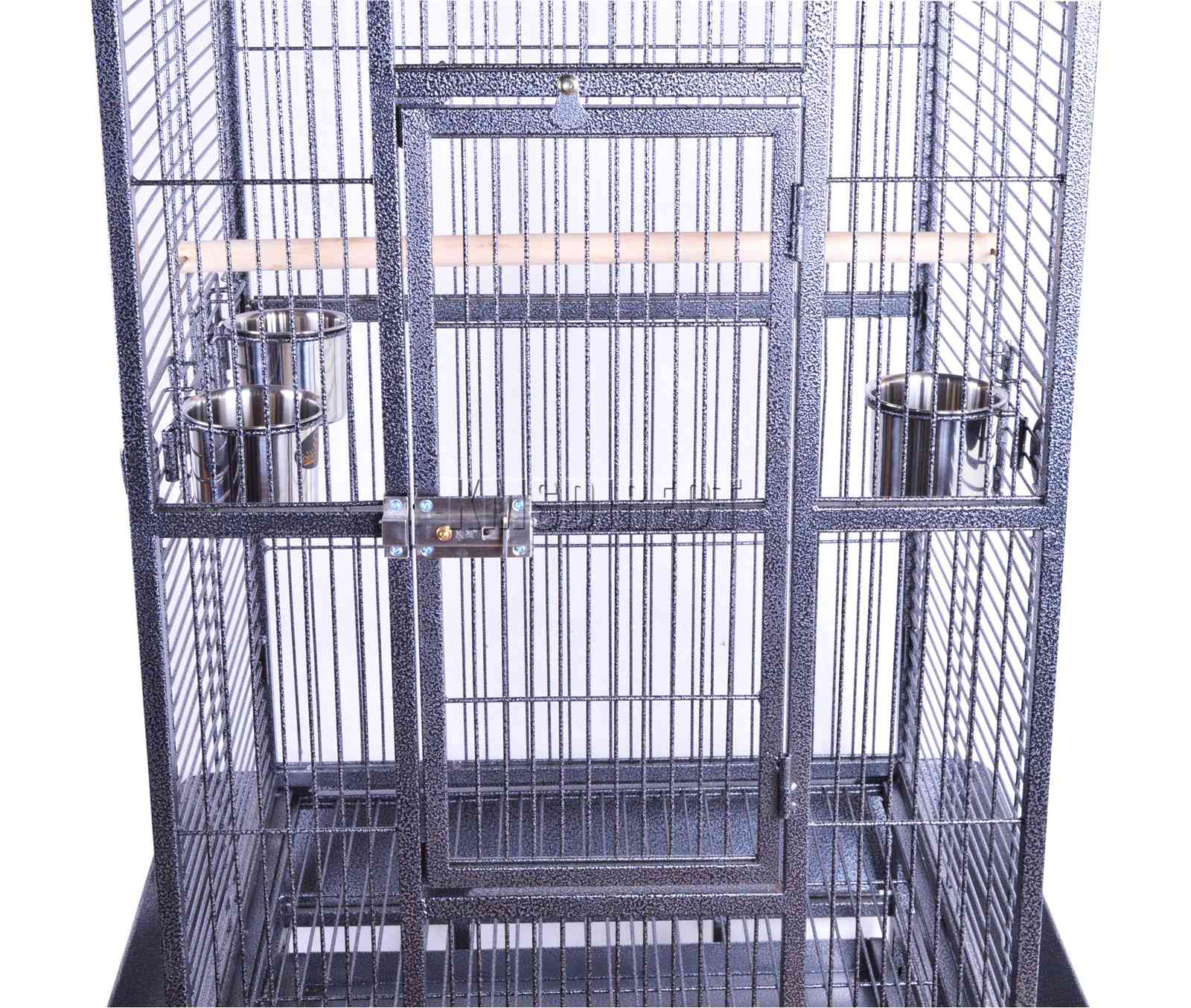 121998112507 2475 I 225 38 BIRD CAGE METAL MBC 04 HAMMERED SILVER KMSWM0202 - Foxhunter Grande Metal Jaula con Soporte Pajarera Loro Periquito Canario Cacatua
