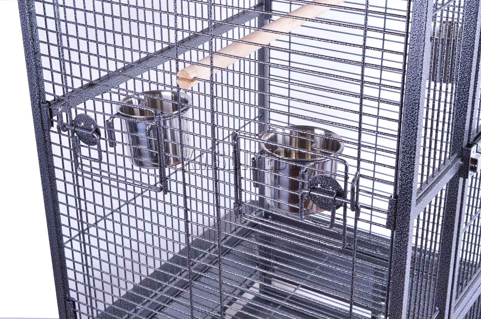 121998112507 2475 I 225 38 BIRD CAGE METAL MBC 04 HAMMERED SILVER KMSWM0606 - Foxhunter Grande Metal Jaula con Soporte Pajarera Loro Periquito Canario Cacatua