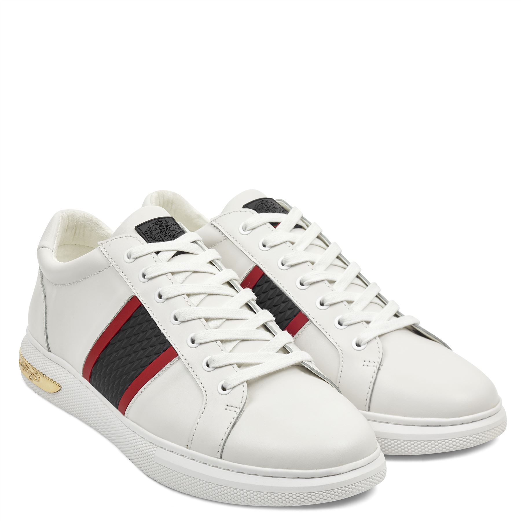 Ed Hardy Herren Blade Low Top Leder Leder Leder Schutz Turnschuhe Weiß Schwarz Schuhe a31ed0