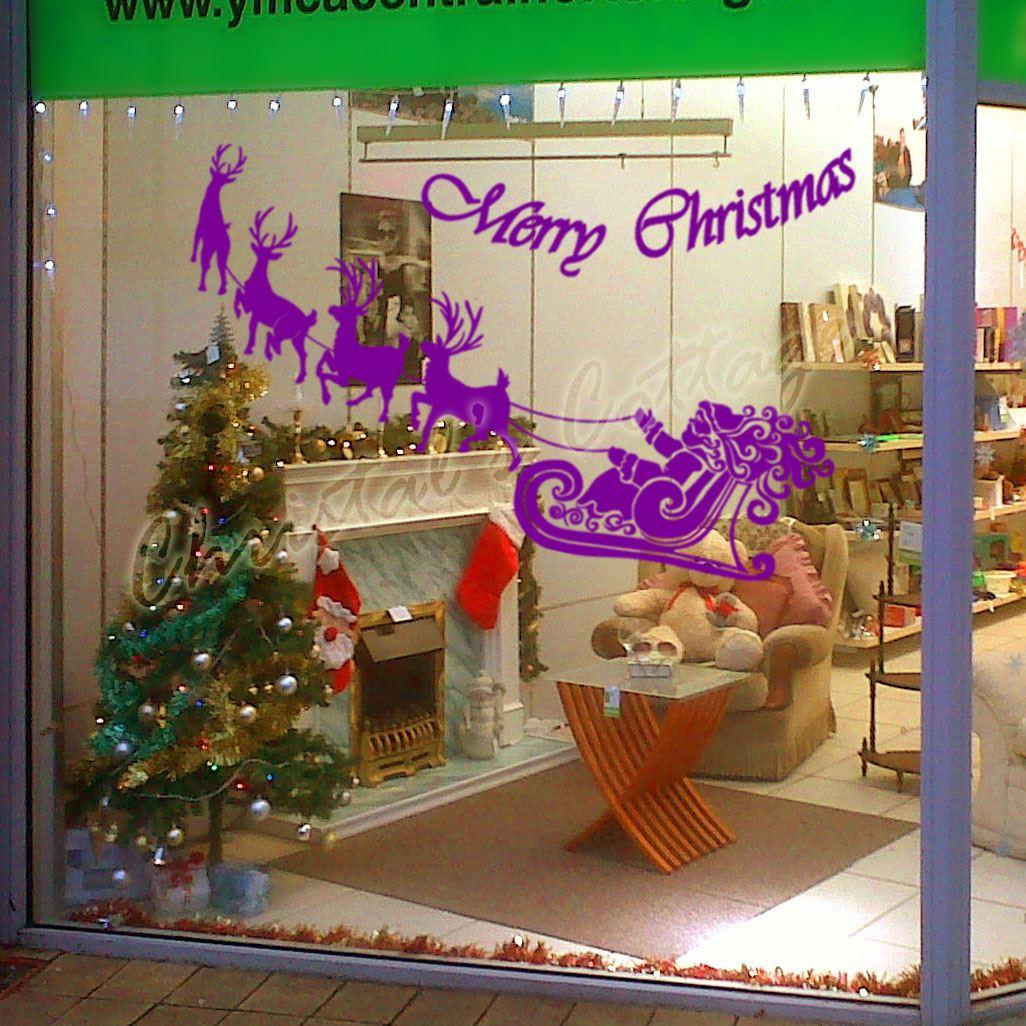 Large Santa Claus Christmas Deer Shop Window Wall Art