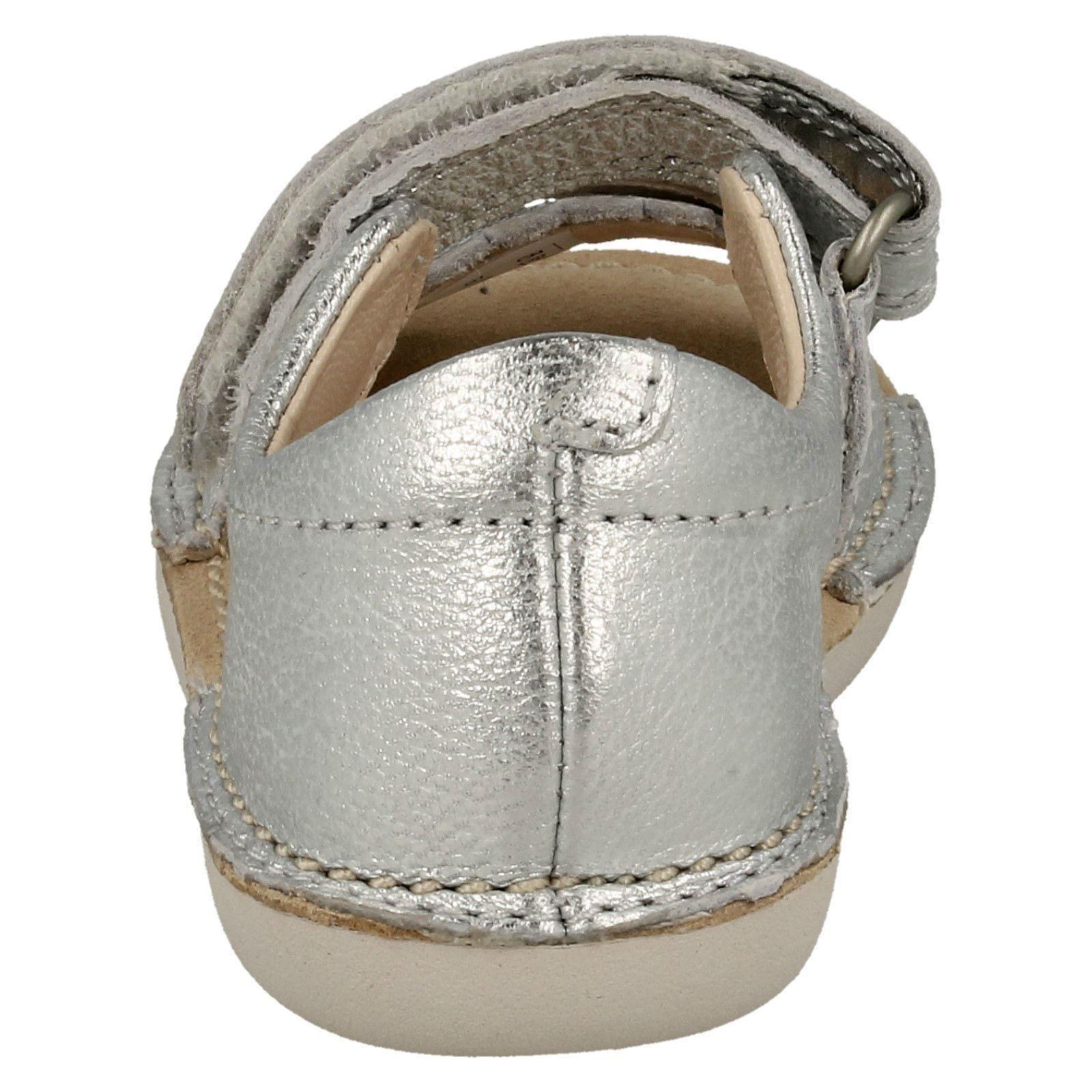 345e3e56b7a Clarks Girls Leather Heel in Open Toe Sandal Ivy Flora 6 Silver