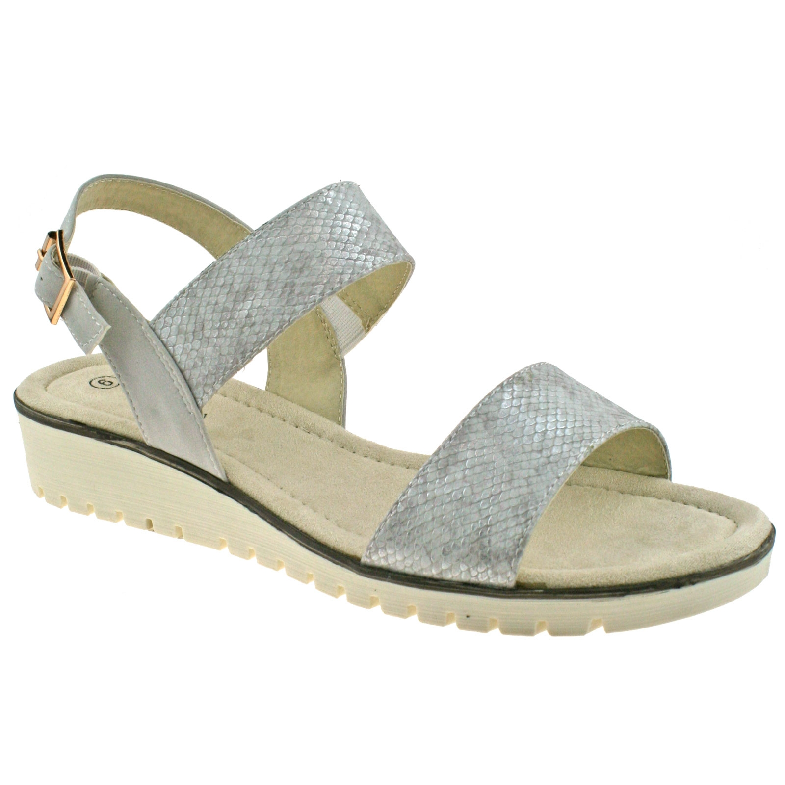 a343b705be LADIES CIPRIATA GOLD OR SILVER SHIMMER BUCKLE LOW WEDGE HEELED ...