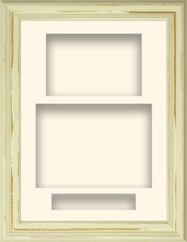 21-6cm-X-29-2cm-Shabby-Chic-Crema-Madera-Retrato-Profundo-Shadow-Caja-Marco-de