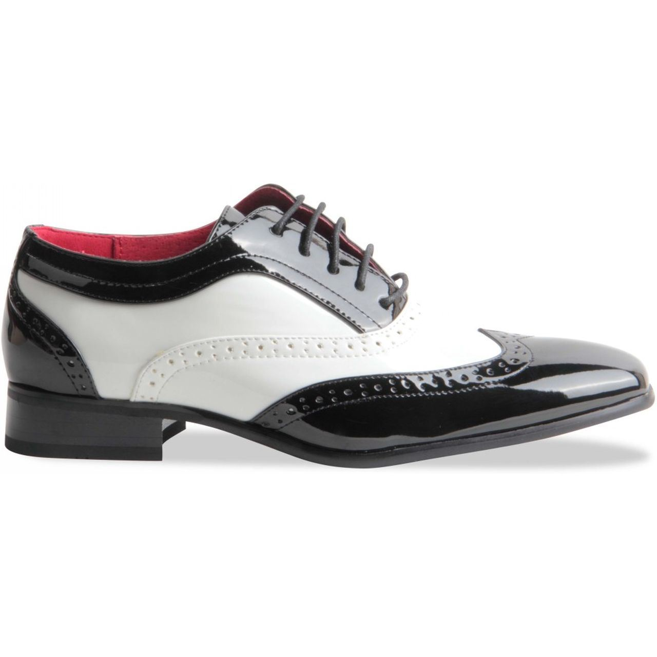 Details about Shoes Bicolor Black Red Wingtip Brogue Style Oxford Style Gangster Mens show original title