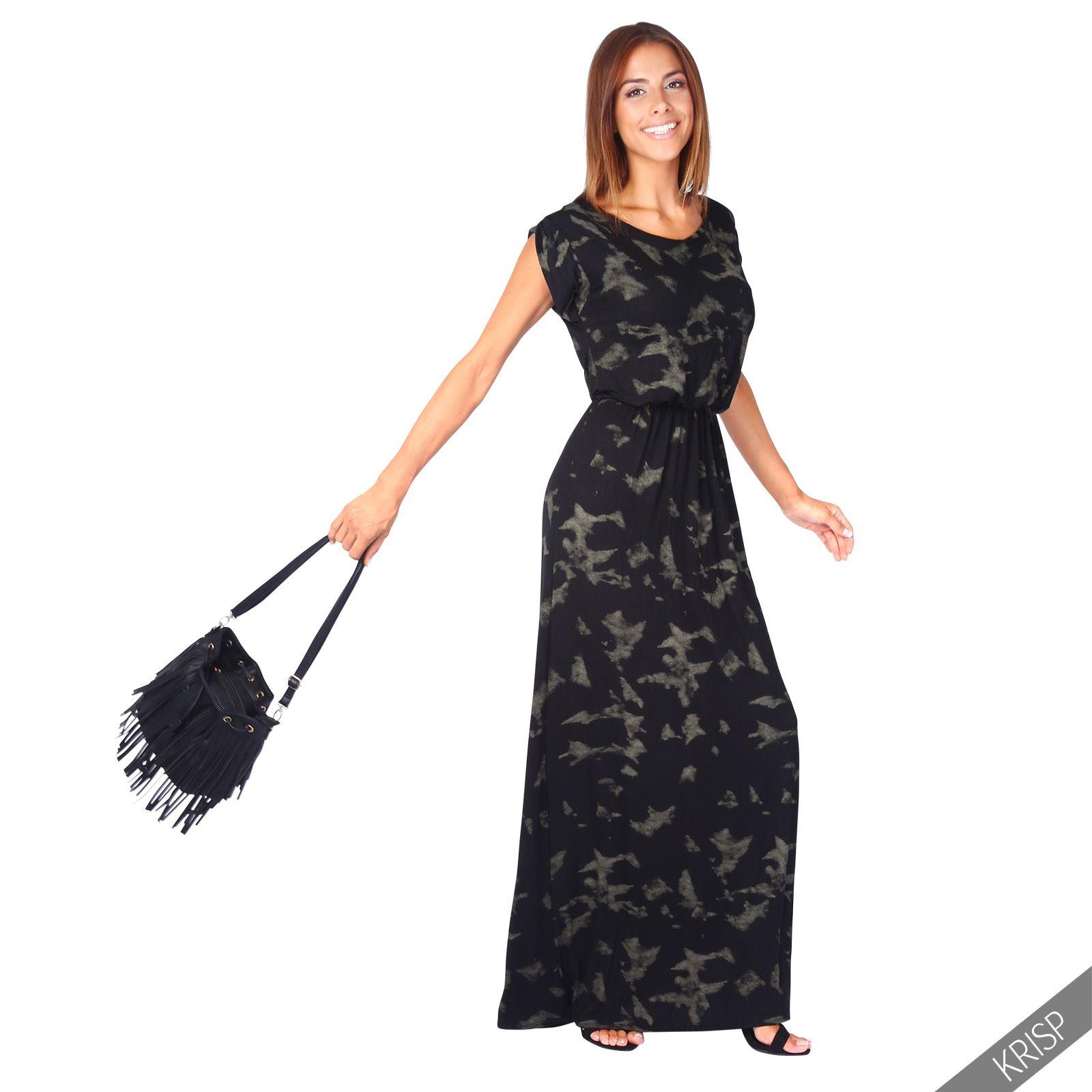 Mujer-Boho-Grande-Holgado-Jersey-Largo-Vestido-de-verano-casual-de-fiesta