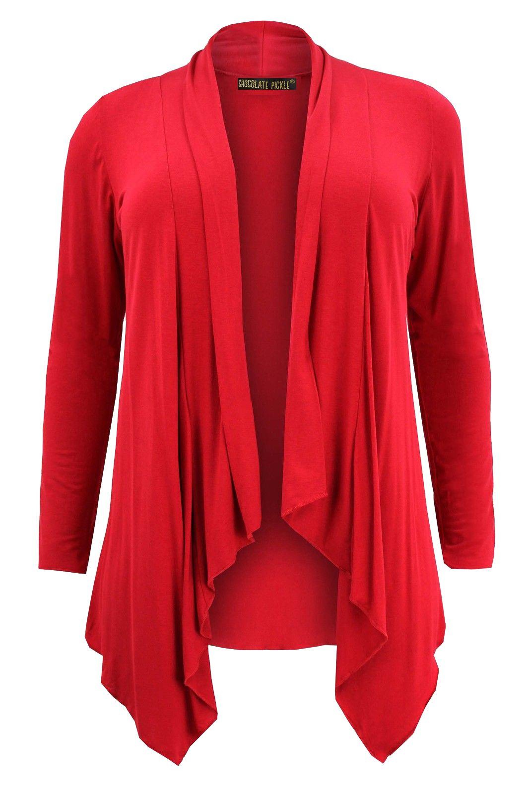 neu damen rot wasserfall ausschnitt jersey strickjacke 8 26. Black Bedroom Furniture Sets. Home Design Ideas