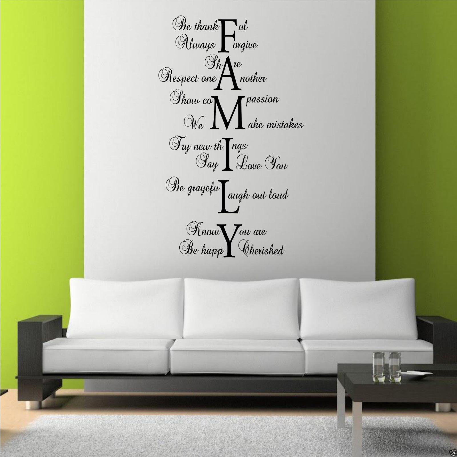 Family love life wall art sticker quote room decal mural for Family room wall art