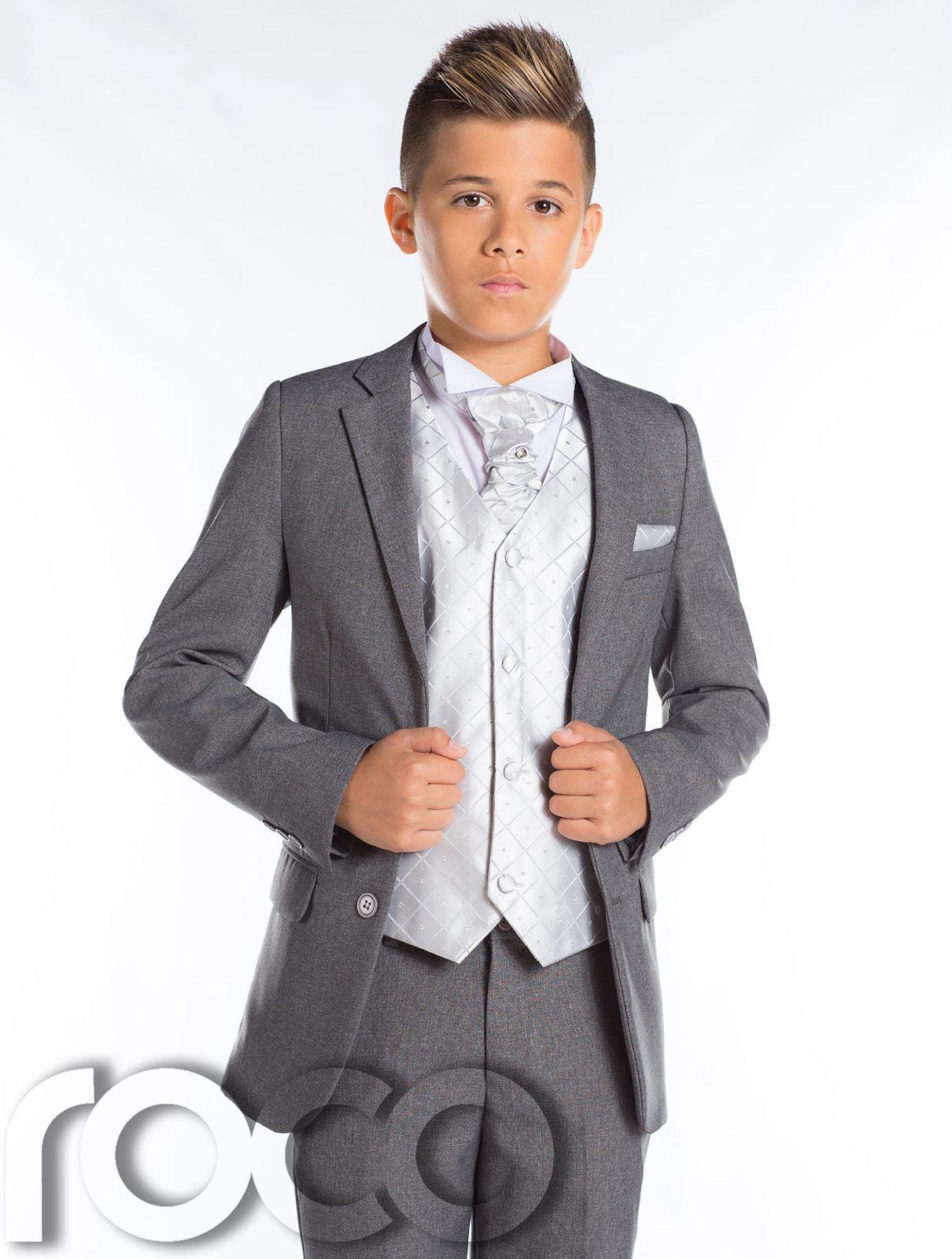 Jungen grauer Anzug, schmal Passform prom-anzug, grau Seite Anzug ...