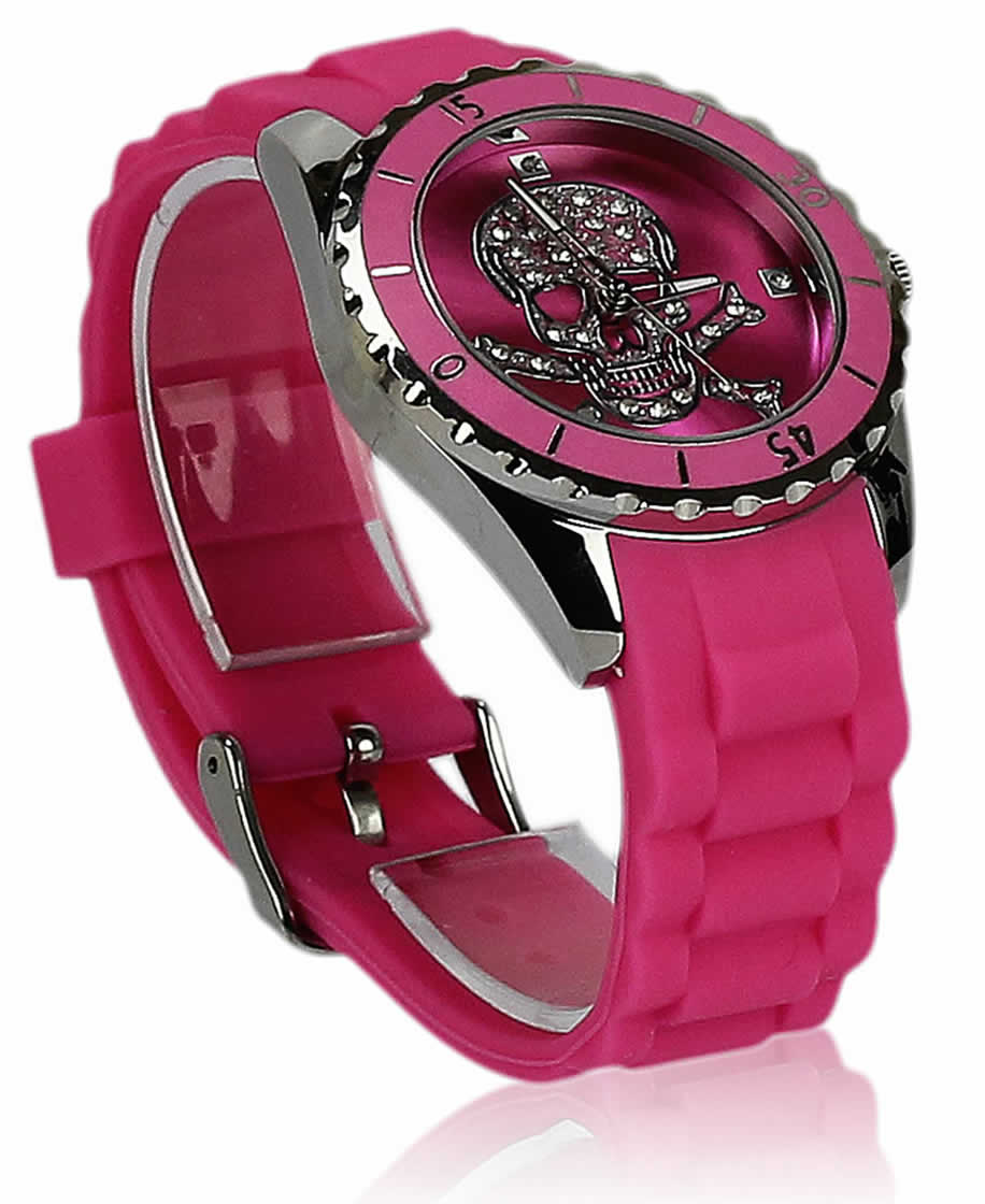 Ladies Silicone Rhinestone Wrist Watch Trend Rubber Watch ...