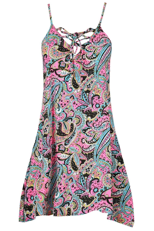 Mujer-Floral-Camisola-Fino-Correa-Cordones-Vestido-Con-Vuelo-Camiseta-Sin-Mangas