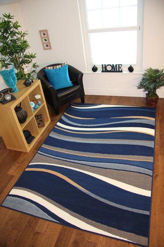 Alfombra de pasillo larga estrecha fina dise o ondas azul for Moqueta pasillo