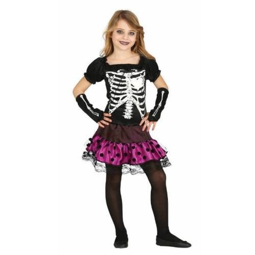 Girls Urban Skeleton Dress & Gloves Halloween Fancy Dress Costume