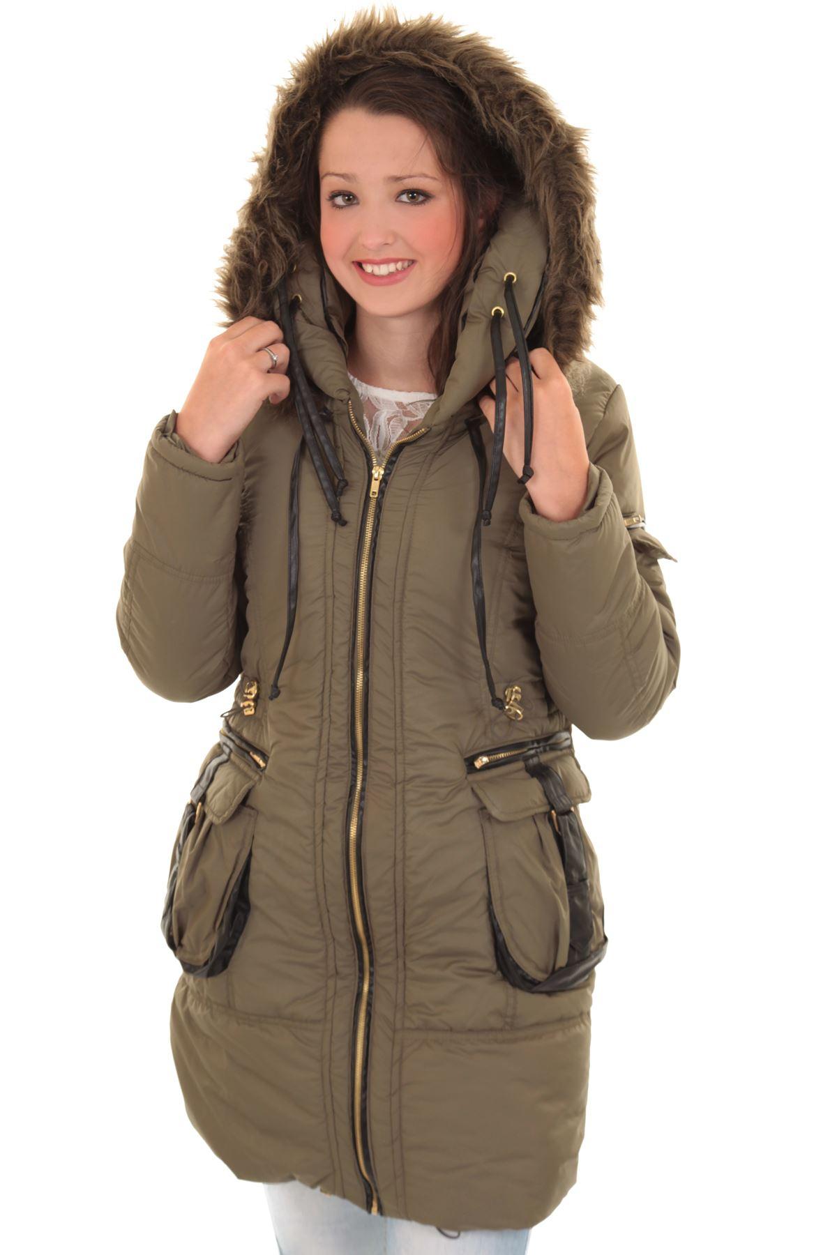 Donna Pelliccia con Cappuccio Trapuntato Zip Imbottito Piumino Lungo Inverno