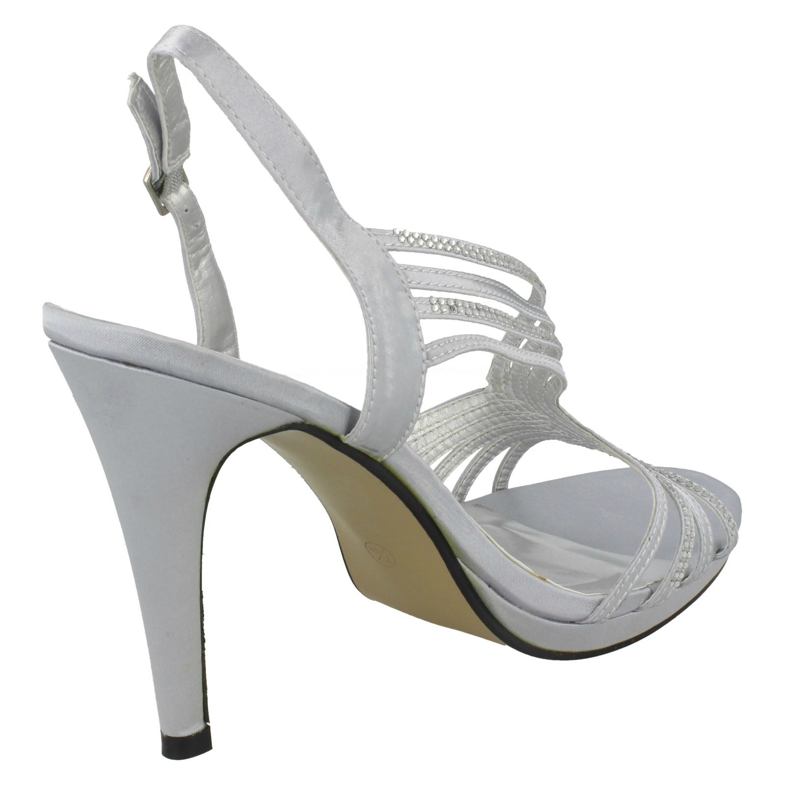 5fde958d14 Ladies Anne Michelle Diamante Trim Buckle Open Back Heels | eBay