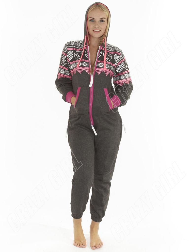 Unisexe adulte femme homme coeur azt que polaire imprim pyjama combinaison tout ebay - Combinaison polaire homme ...
