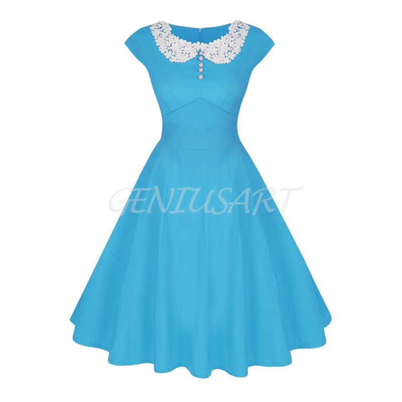 Femmes-Filles-Style-Vintage-Rond-Col-Dentelle-Mancheron-Retro-Swing-Robes