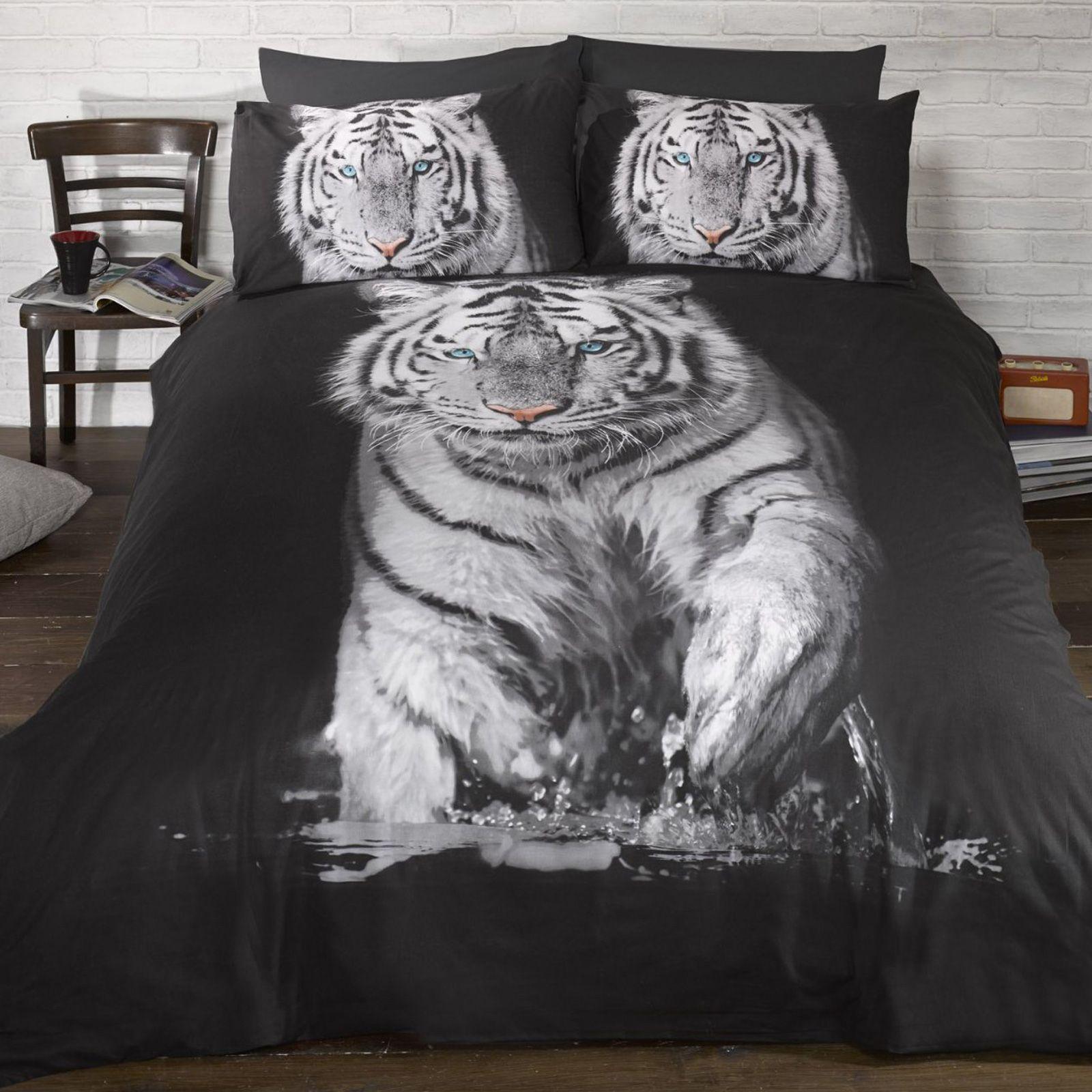 Tigre-Blanc-Photo-Imprime-Set-Housse-de-couette-LITERIE-Simple-double-amp-King