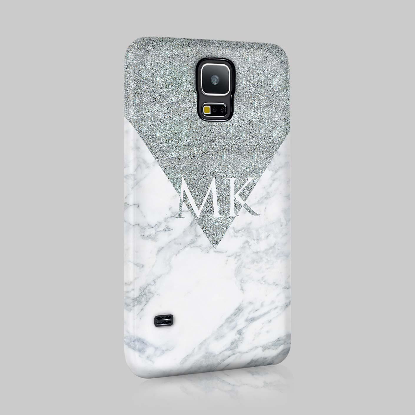Personnalise-Argent-Marbre-Initiales-Custom-Etui-Coque-Pour-Samsung-Mini-Ace