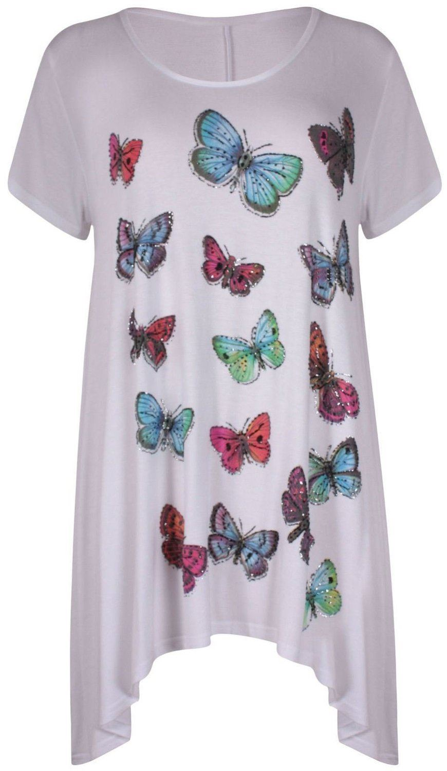 aec89dec4e2b3 Womens Beaded Butterfly Print Stretch Tunic Hanky Hem T-shirt Plus Size  Uk14-28 White UK 14. About this product. Picture 1 of 2  Picture 2 of 2