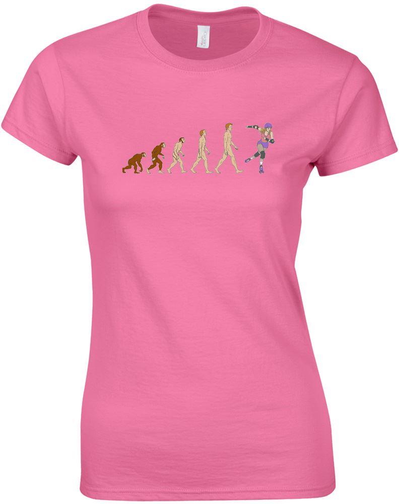 Evolucion-de-Roller-Derby-Diseno-Estampado-Camiseta-Mujer-Cuello-Redondo