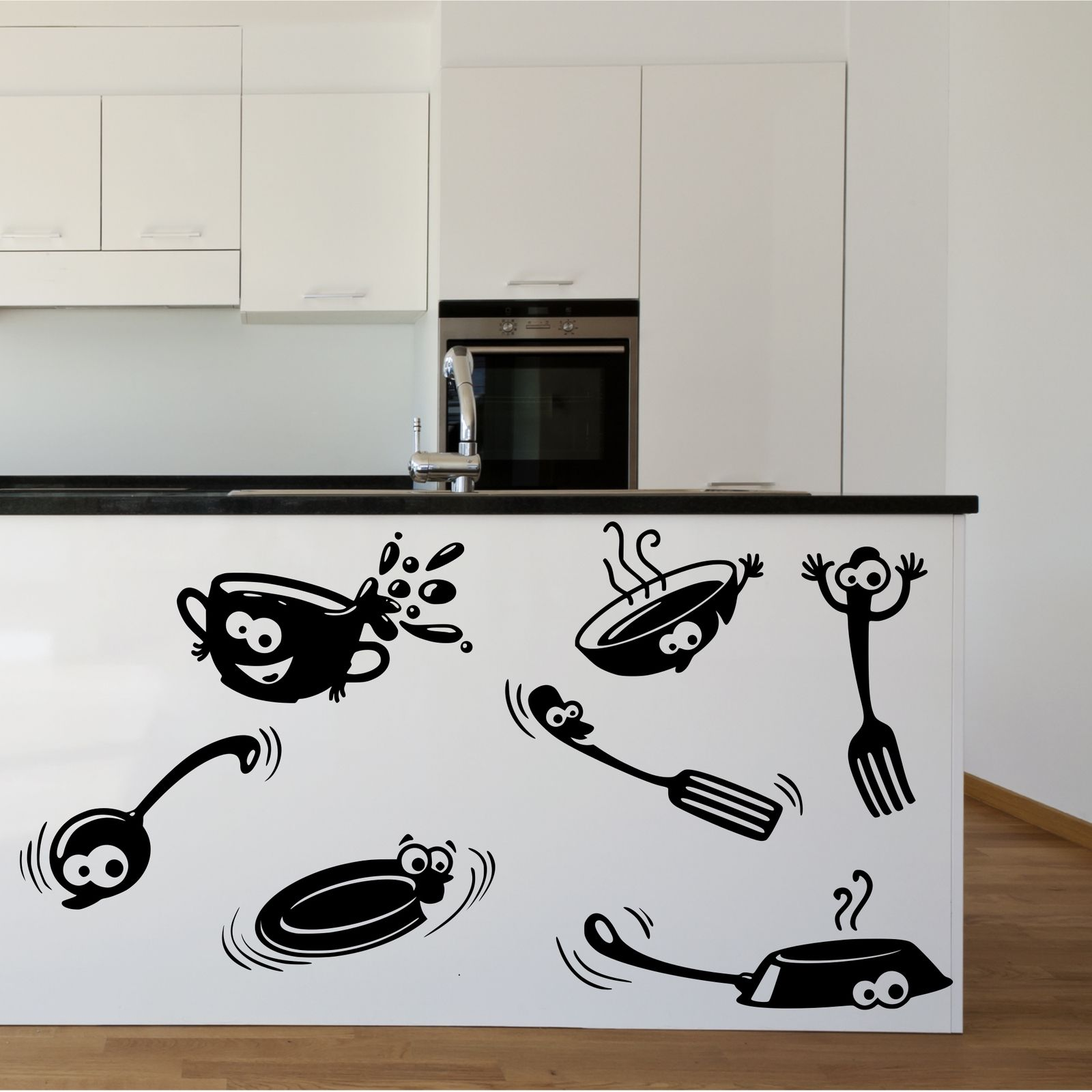 Placard cuisine cartoon stickers autocollant de vinyle wall art ebay - Stickers placard cuisine ...