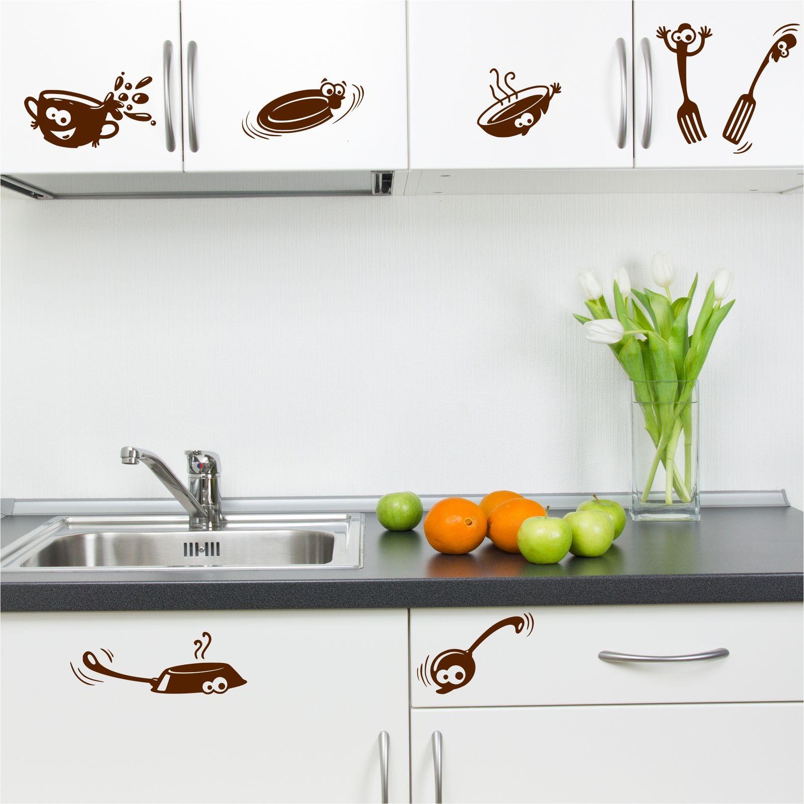 Kitchen Cupboard Cartoon Stickers Vinyl Wall Art Decal ...